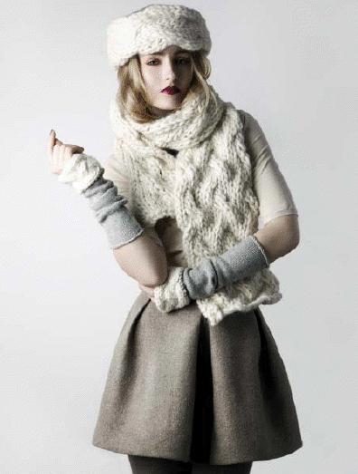 Amy Hall Knitwear A W11 Hazel Wristwarmers Cherry Hat